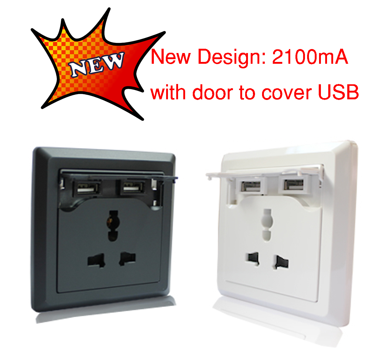 Wall outlet with two integrated USB ports for powering and charging USB devices